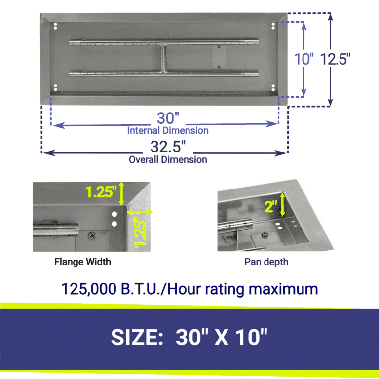American Fireglass Stainless Steel Fire Pit Pan & Burner showing dimensions and B.T.U. information
