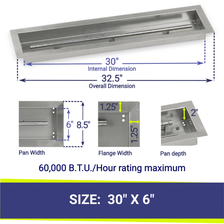 Linear Stainless Steel Fire Pit Pan and T Burner showing dimensions