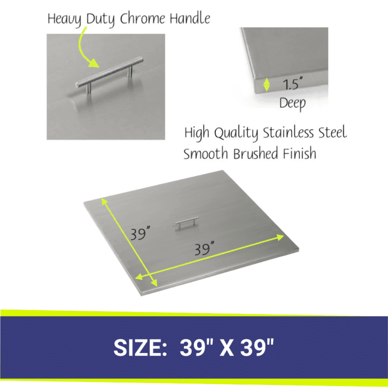 Square Stainless Steel Fire Pit Cover showing dimensions and a close up of the handle