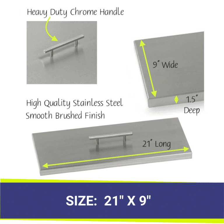 Rectangular Stainless Steel Fire Pit Cover showing dimensions and close up of handle