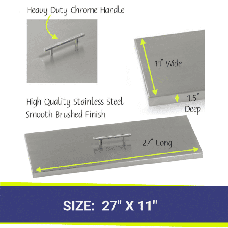 Rectangular Stainless Steel Fire Pit Cover showing dimensions and a close up of the handle