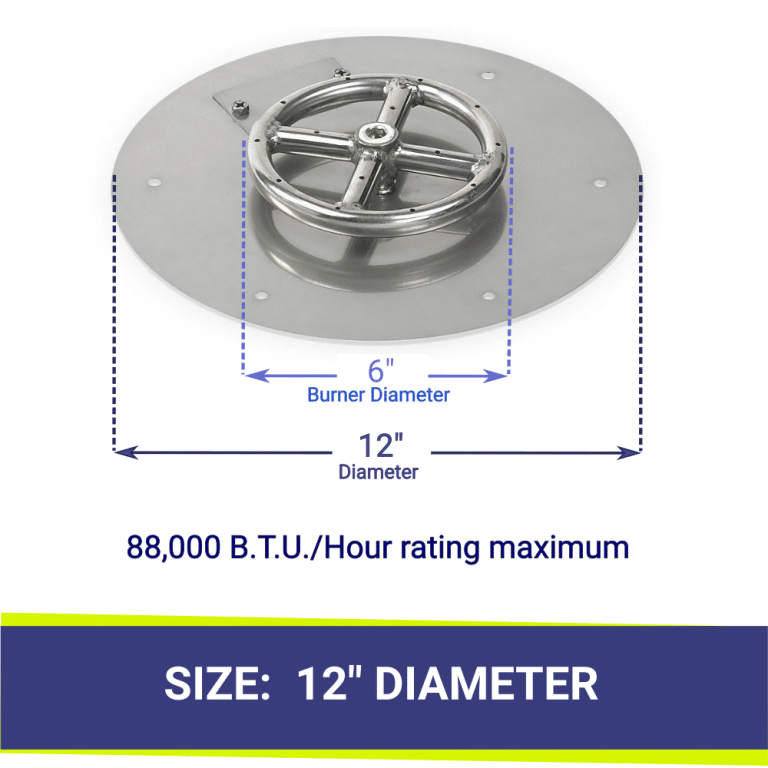 """Round Flat Stainless Steel 12"""" Fire Pit Pan & 6"""" Burner"""