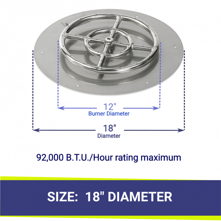 """Round Flat Stainless Steel 18"""" Fire Pit Pan & 12"""" Burner"""