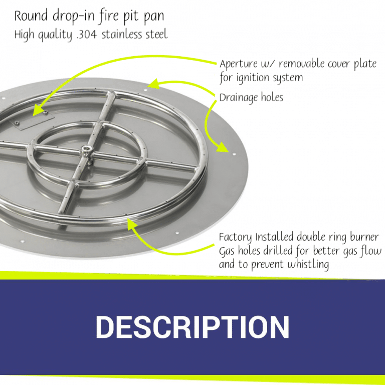 Round Flat Stainless Steel Fire Pit Pan & Burner Features