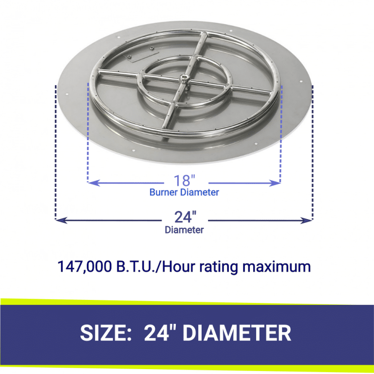 """Round Flat Stainless Steel 24"""" Fire Pit Pan & 18"""" Burner"""