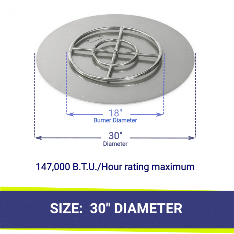 """Round Flat Stainless Steel 30"""" Fire Pit Pan & 18"""" Burner"""