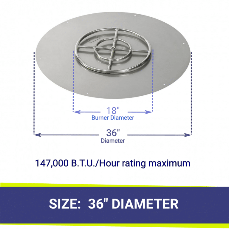 """Round Flat Stainless Steel 36"""" Fire Pit Pan & 18"""" Burner"""
