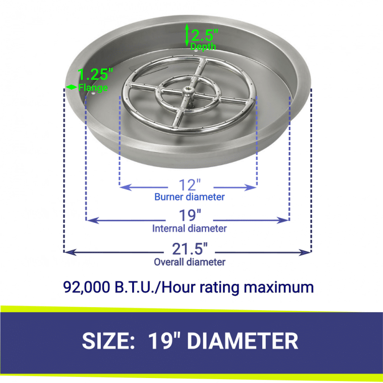 """19"""" Round Stainless Steel Drop In Fire Pit Pan & Burner with Dimensions and Heat Rating"""