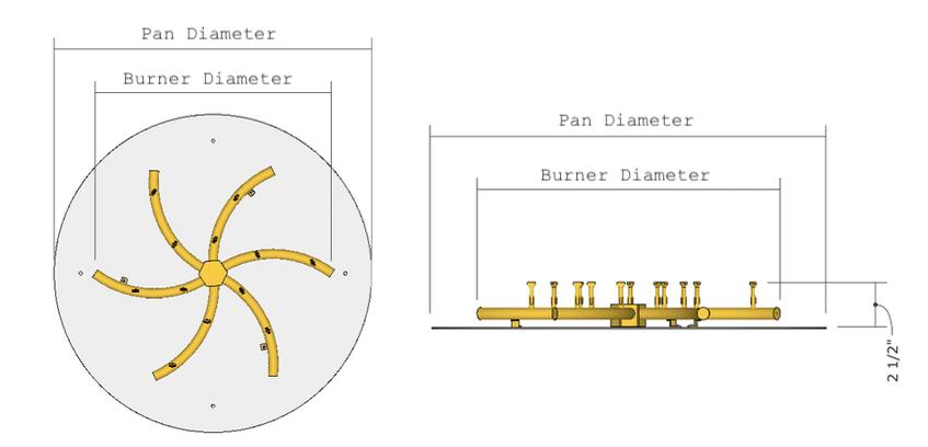 Bullet Burner Dimensions