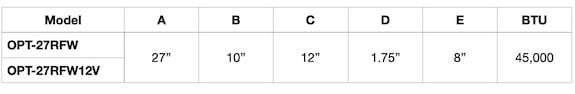 Sedona 27 Inch Dimensions Chart