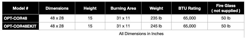 Coronado Wood Grain Fire Pit Specifications