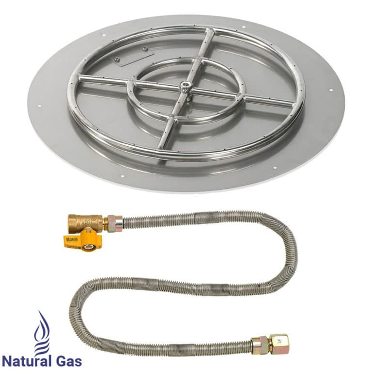 Round Flat Stainless Steel Fire Pit Pan & Burner with Natural Gas Connection Kit