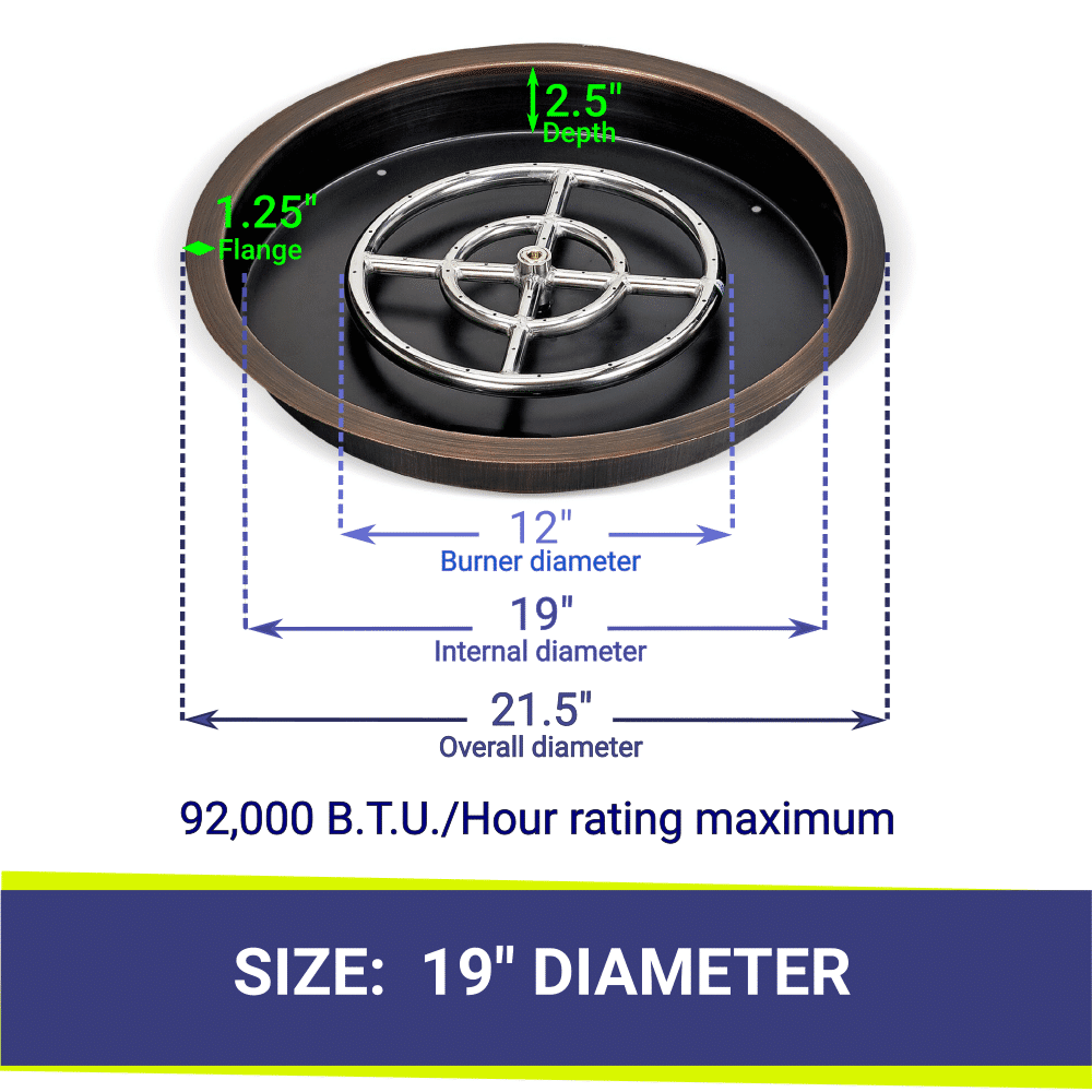 """19"""" Round Bronze Drop In Fire Pit Pan & Burner with Dimensions and Heat Rating"""