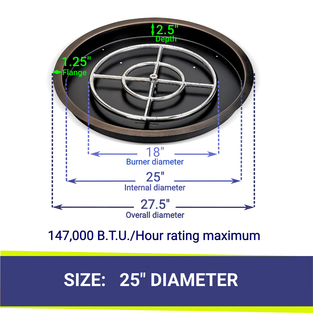 """25"""" Round Bronze Drop In Fire Pit Pan & Burner with Dimensions and Heat Rating"""