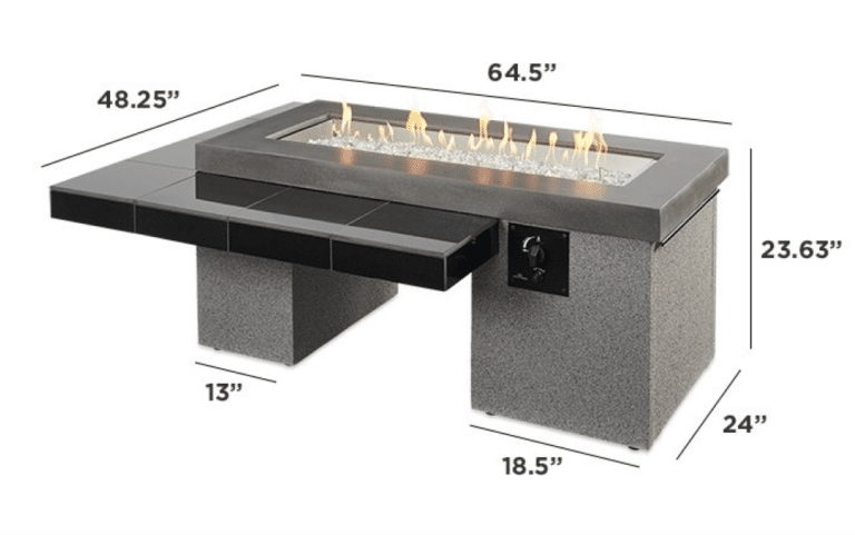 Black Uptown Linear Gas Fire Pit Table Dimensions