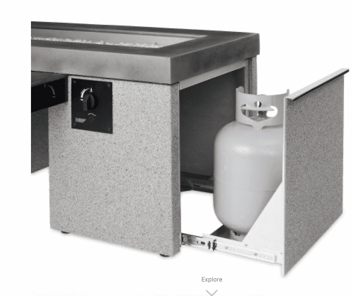Black Uptown Linear Gas Fire Pit Table Gas Bottle Storage