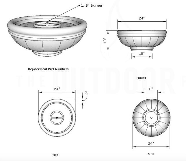 Roma 24 Fire Bowl Dimensions