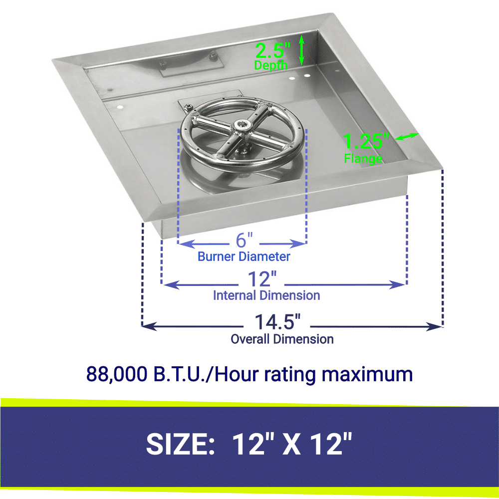 """Square Drop-In Stainless Steel 12"""" Fire Pit Pan & 6"""" Single Ring Burner with BTU Rating"""