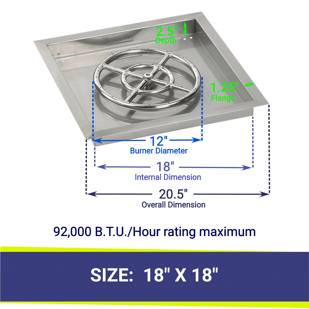 """Square Drop-In Stainless Steel 18"""" Fire Pit Pan & 12"""" Double Ring Burner with BTU Rating"""