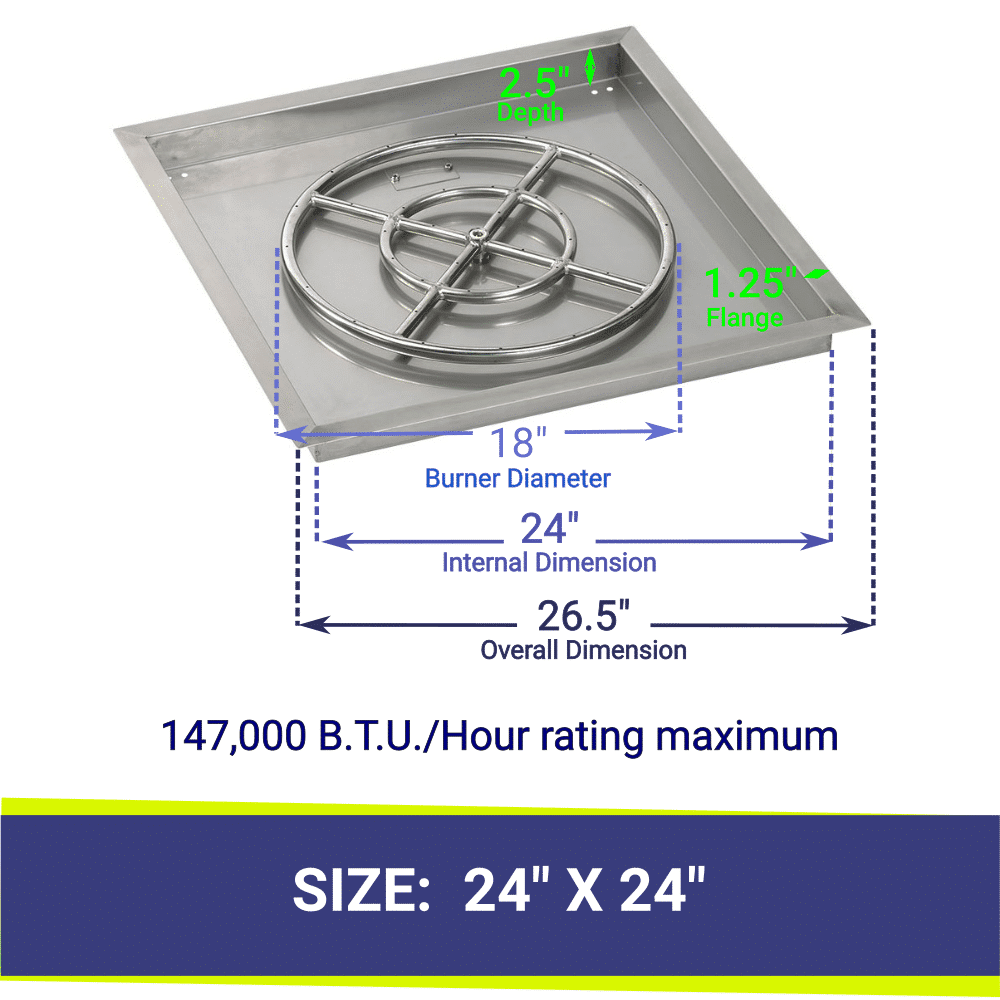 """Square Drop-In Stainless Steel 24"""" Fire Pit Pan & 18"""" Double Ring Burner with BTU Rating"""