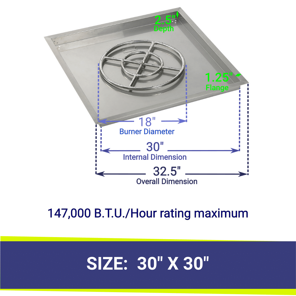 """Square Drop-In Stainless Steel 30"""" Fire Pit Pan & 18"""" Double Ring Burner with BTU Rating"""