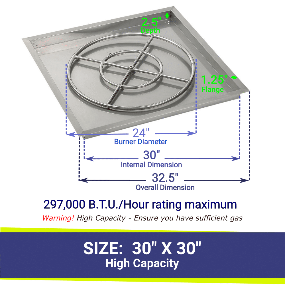 """Square Drop-In Stainless Steel 30"""" High Capacity Fire Pit Pan & 24"""" Double Ring Burner with BTU Rating"""