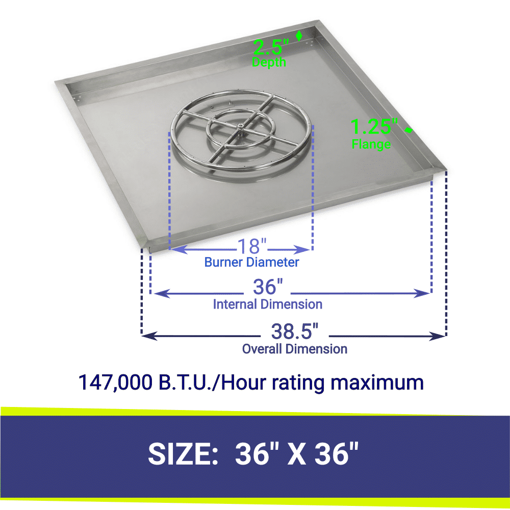 """Square Drop-In Stainless Steel 36"""" Fire Pit Pan & 18"""" Double Ring Burner with BTU Rating"""
