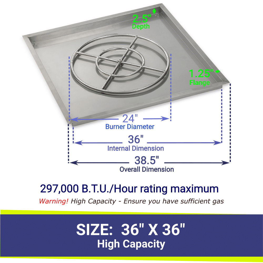 """Square Drop-In Stainless Steel 36"""" High Capacity Fire Pit Pan & 24"""" Double Ring Burner with BTU Rating"""