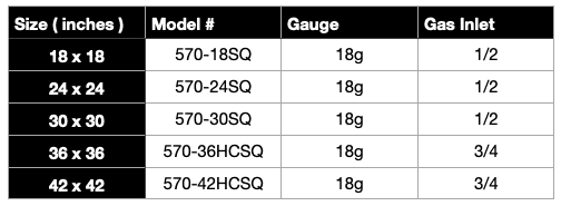 Square Fire Pit Insert Specifications