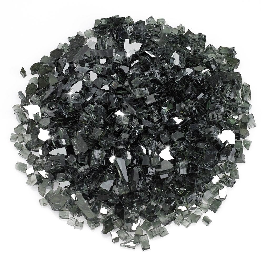 1/4 Inch Black Reflective Fire Glass