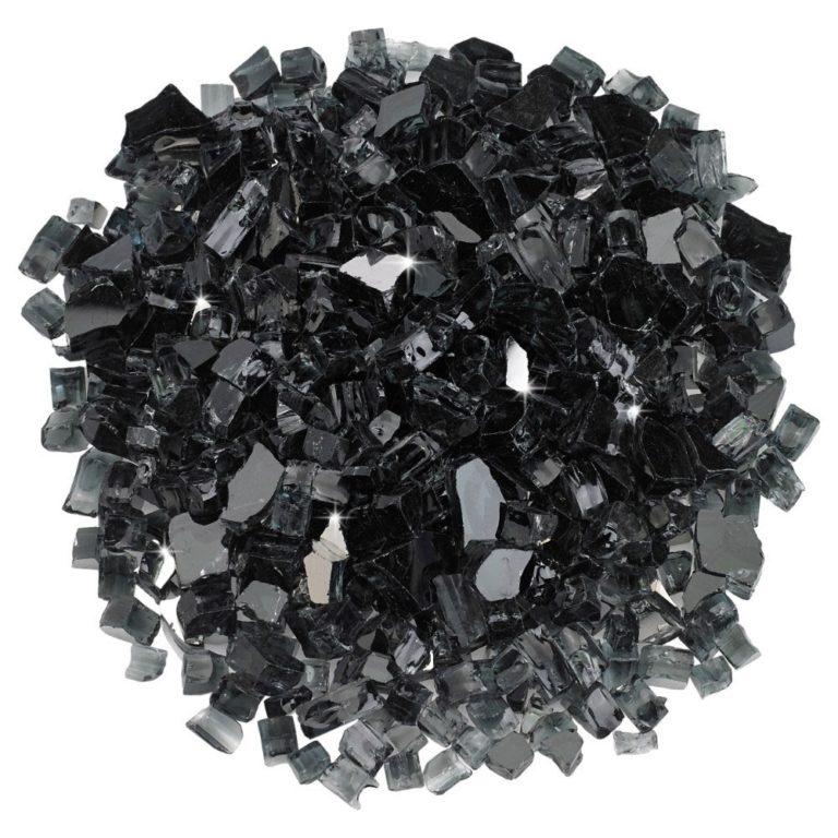 1/2 Inch Black Reflective Fire Glass