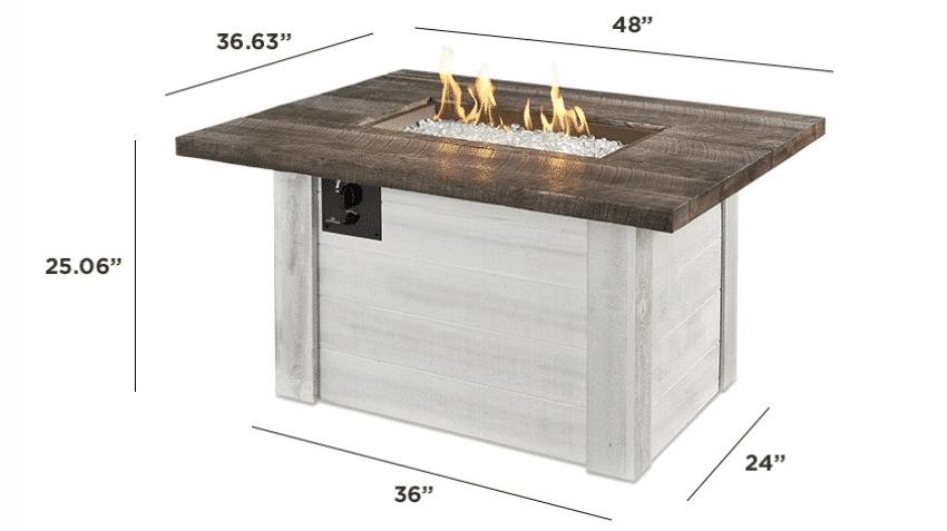 Alcott Fire Pit Table Dimensions