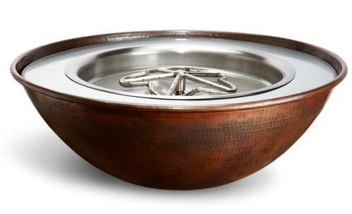 Tempe Hammered Copper Gas Fire Pit Bowl