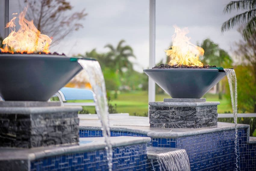 A Fire and Water Feature in Pool Area