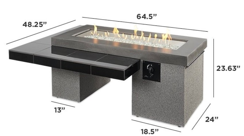 Black Uptown Linear Gas Fire Pit Table UPT-1242