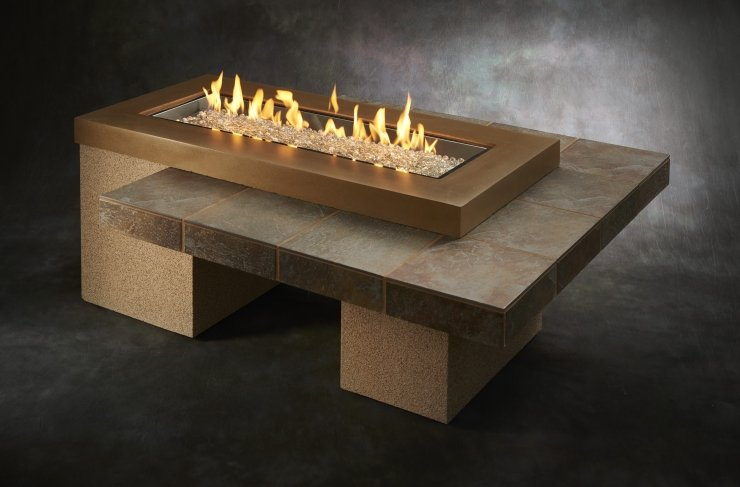 Brown Uptown Linear Gas Fire Pit Table UPT-1242-BRN