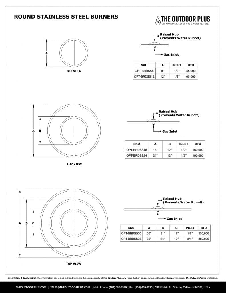 Round Stainless Steel Bullet Burner Dimensions