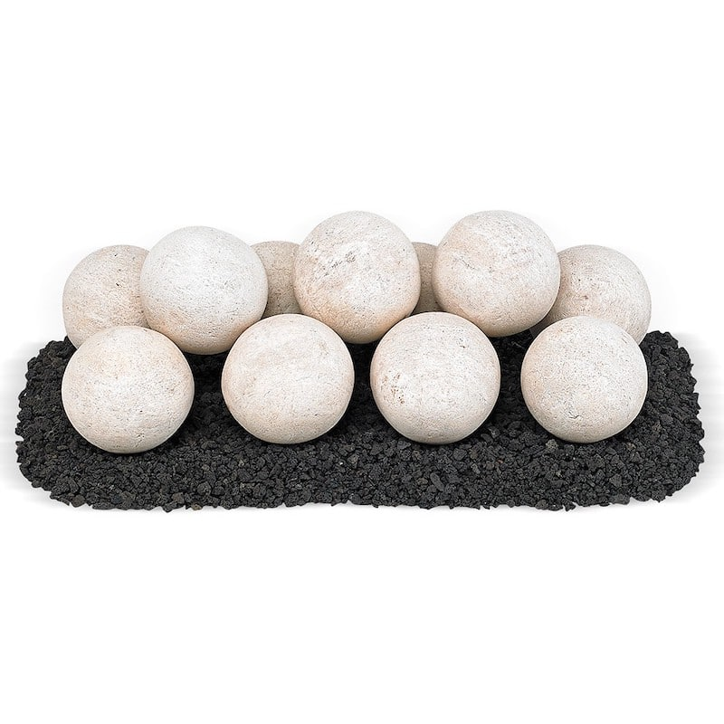 Cottage White Light Stone Ball Set