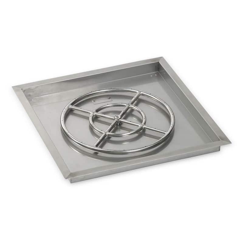 24 Inch American Fireglass Square Drop In Pan with Burner