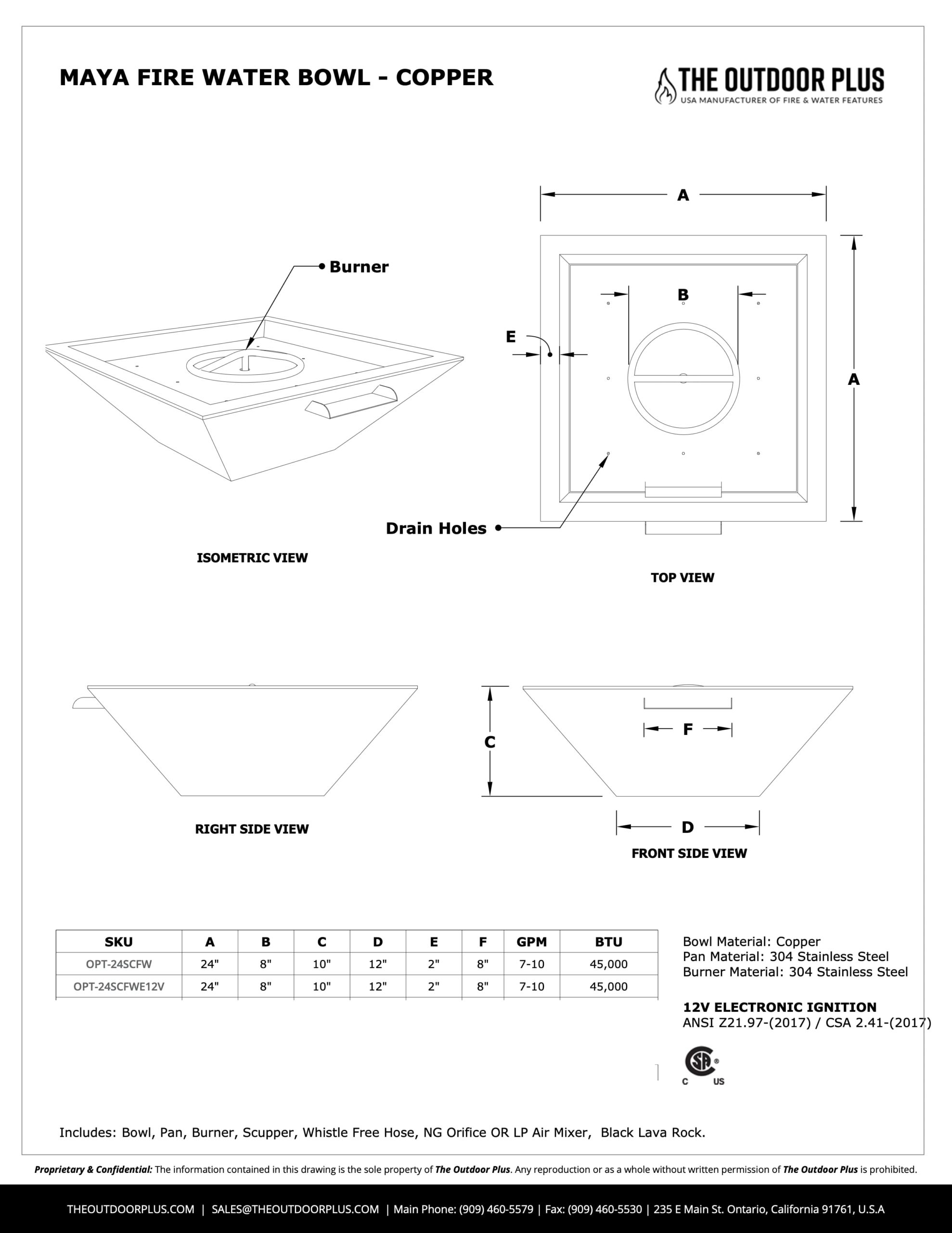 Maya Copper and Fire Water Bowl Spec Sheets