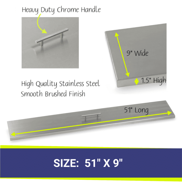 Linear Stainless Steel Fire Pit Cover showing dimensions and a close up of the handle