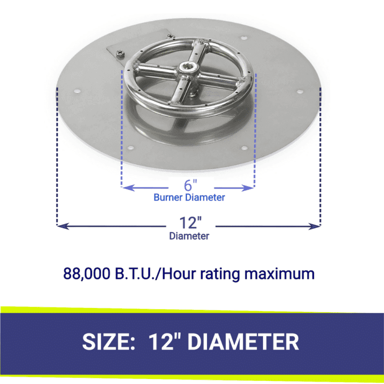 Round Flat Stainless Steel Fire Pit Tray and Ring Burner showing dimensions and B.T.U.'s -