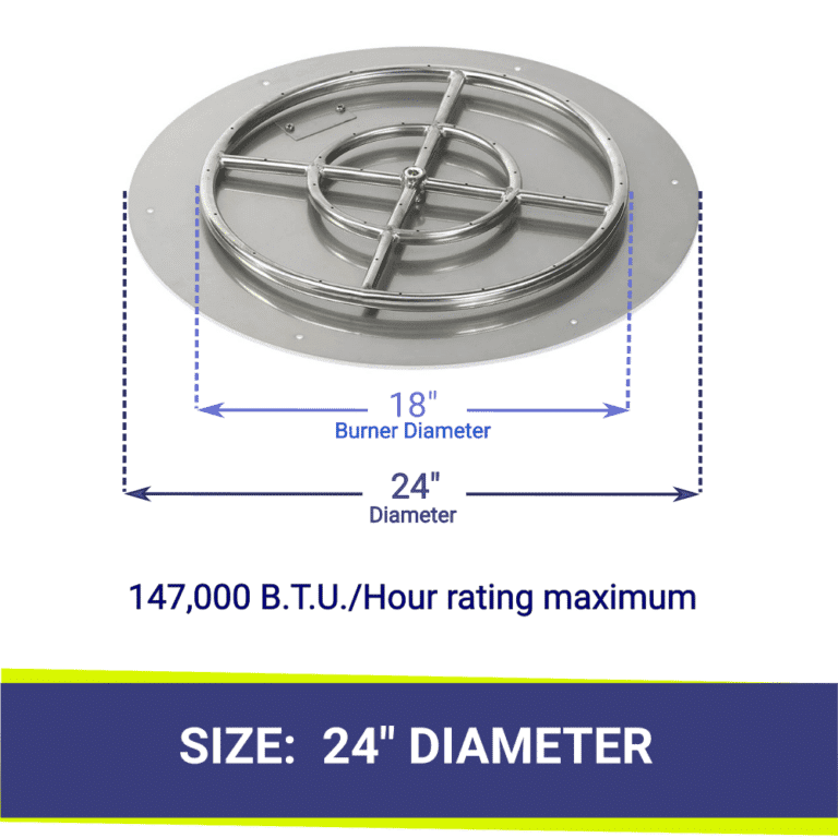 Round Flat Stainless Steel Fire Pit Tray and Ring Burner showing dimensions and B.T.U.'s