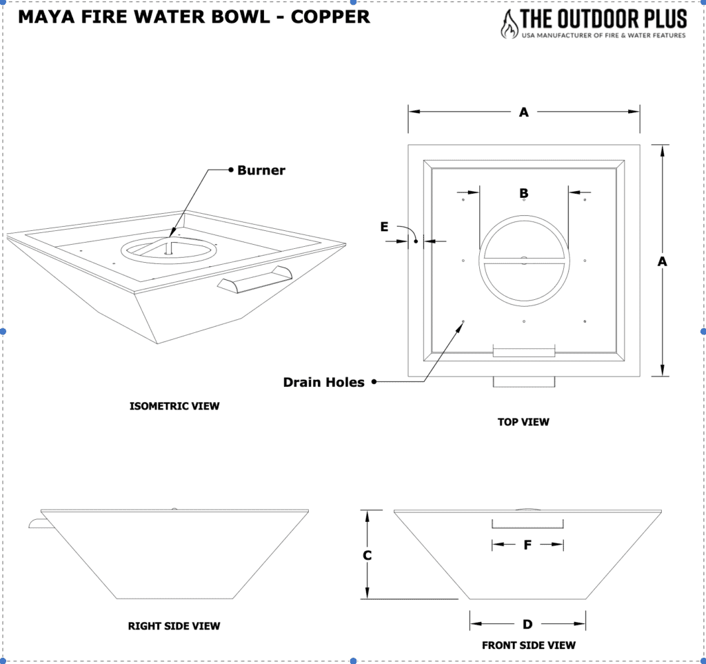 Maya Copper Fire and Water Bowl 30 Inches