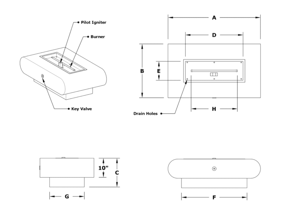 La Jolla Fire Pit Dimensions