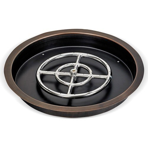 Bronze Round Fire Pit Drop In Tray with Burner