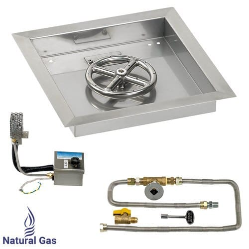 """12"""" X 12"""" SIT Electronic Ignition Fire Pit Kit with Drop In Tray - 6"""" Burner - Natural Gas"""