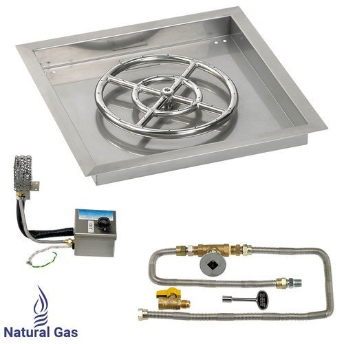 "18"" X 18"" SIT Electronic Ignition Fire Pit Kit with Drop In Tray - 12"" Burner - Natural Gas"
