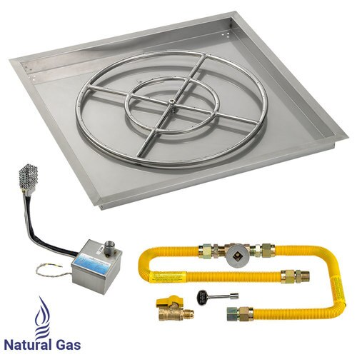 """30"""" X 30"""" High Capacity SIT Electronic Ignition Fire Pit Kit with Drop In Tray - 24"""" Burner -  Natural Gas"""