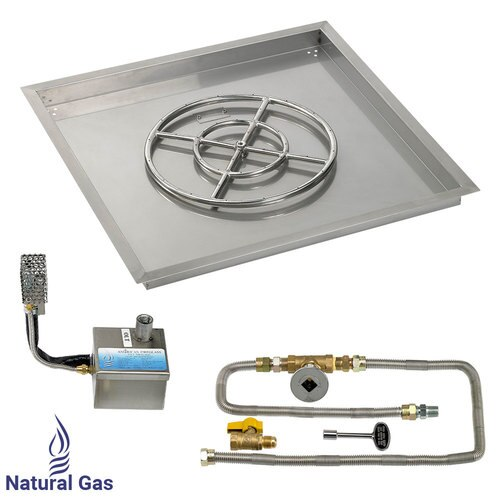 """30"""" X 30"""" SIT Electronic Ignition Fire Pit Kit with Drop In Tray - 18"""" Burner -  Natural Gas"""